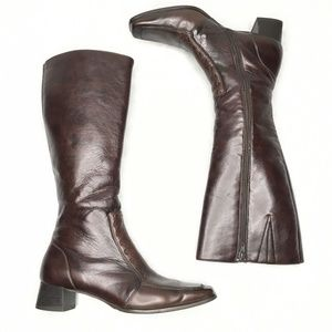 Paul Green Square Toe Side Zip Brown Leather Boots